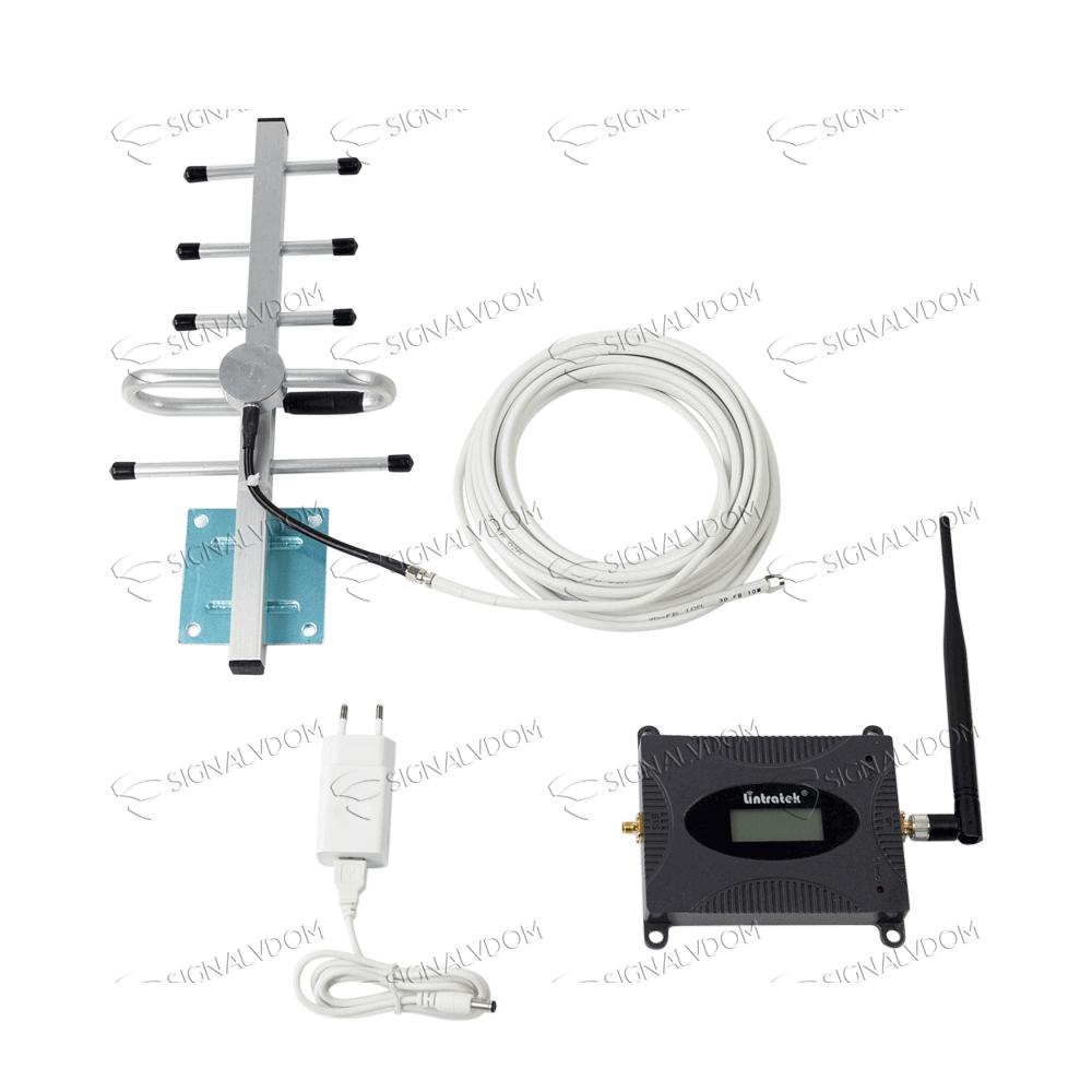 Усилитель сигнала Lintratek 900 mHz (для 2G) 65 dBi, кабель 10 м., комплект